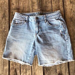 Distressed faded denim Bermuda shorts